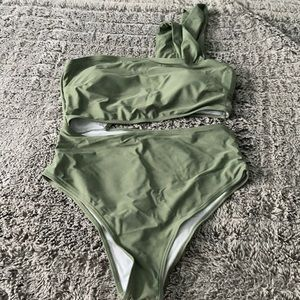 Olive green one piece bathing suit!